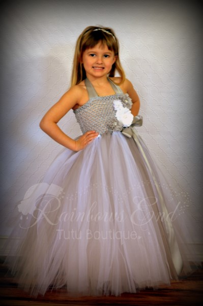 Diamonds and Pearls - Silver and White Tutu Dress