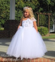 Elegance in White Couture Flower Girl Dress